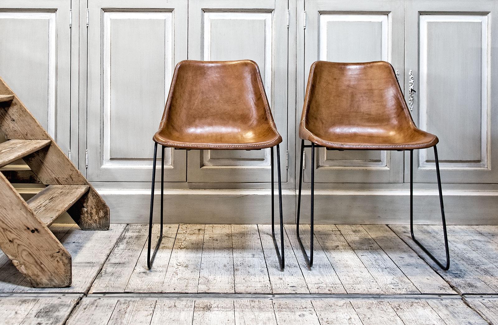 bruine stoel leder