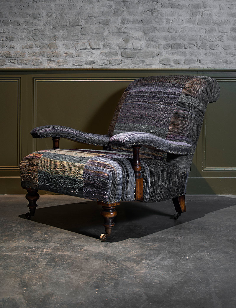 Lounge zetel in vintage handgeweven stoffen woontheater for Lounge zetel
