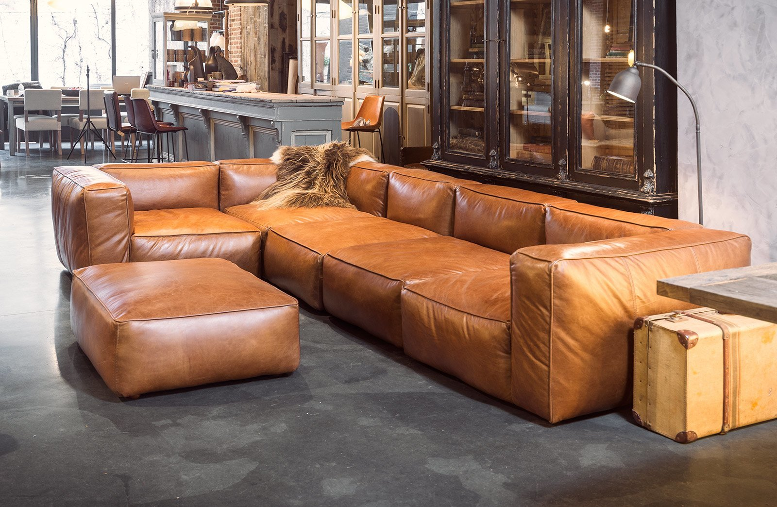 Leather Corner Sofa Cognac Colour Woontheater