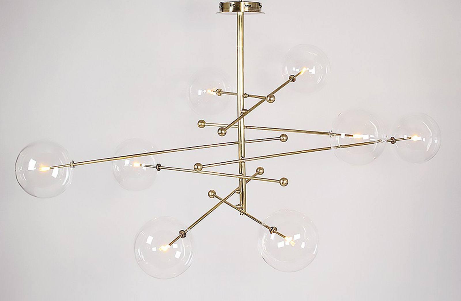 koperen lamp met acht armen